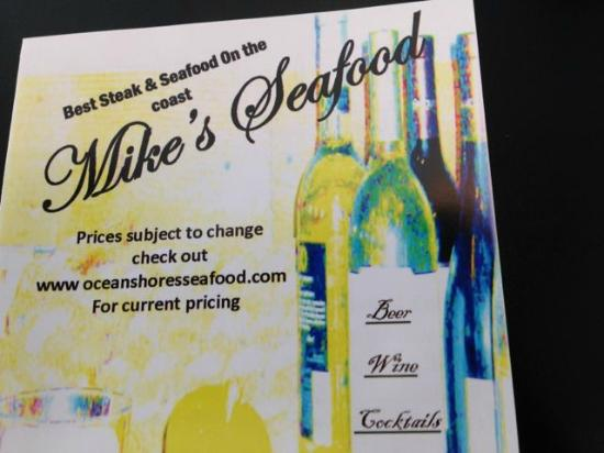 Ocean Shores, Waszyngton: Front of menu makes the place look nicer than it is...