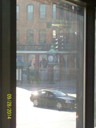 The view of the 4 corners clock from the 2nd floor of Fiddlehead at Four Corners.