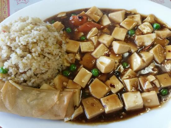 Taste of China: To-Fu with Hot Spicy Sauce served with Soup of the day, Eggroll and Fried rice