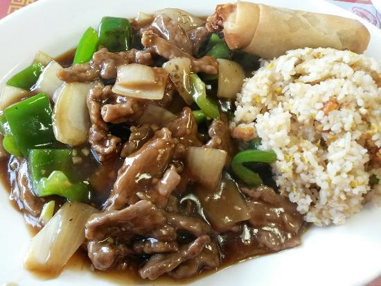 Taste of China: Beef with Green Pepper served with Soup of the day, Eggroll &  Fried rice.
