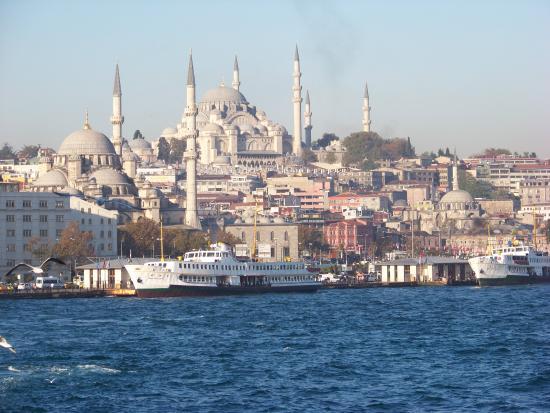 Istanbul, Turkey: Suleymaniye camii from the ferry