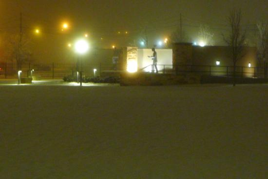 Buddy Holly Statue and West Texas Walk of Fame: Buddy Holley in the snow