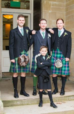 Craigsanquhar House Hotel: groom and best men outside the mansion house