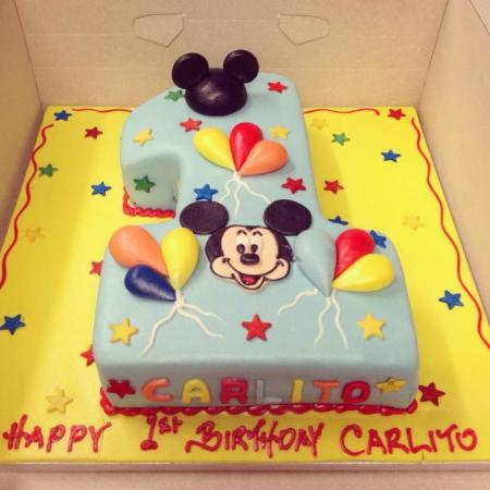 Mickey Mouse Number One Cake Picture of Aroma Patisserie Enfield