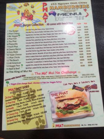 Phat Hamburgers: Menu 2015