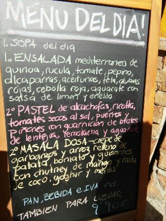 Restaurante Vegetariano: Menú del día 5/3/15