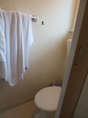 Heartland Hotel Glacier Country: Toilet seat stucked in the shower corner