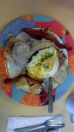 Green Light Diner : Viking breakfast!  biscuit, gravy, hashbrowns, ham, egg, 2 pieces of bacon. hope I didn't leave