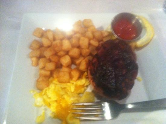 Catch: Apple glazed pork chop and eggs. Excellent.