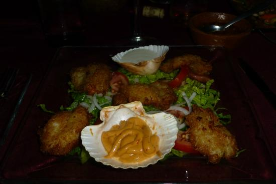Coco Bahia Botanas & Tapas: Coconut shrimp with a spicy roumalade sauce