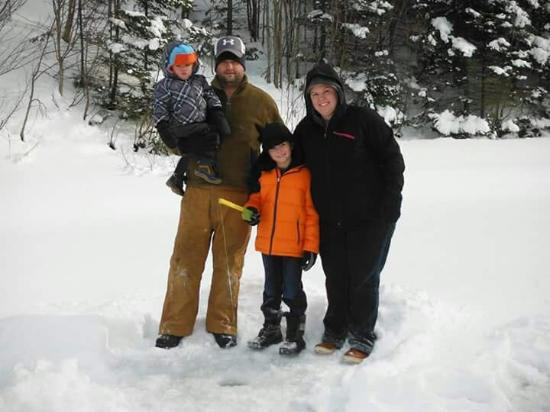 Pourvoirie du Lac Beauport: Ice fishing with our boys in January 2015. They loved it!