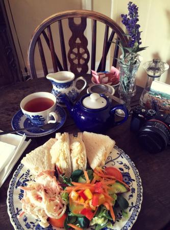 The Cobbles Tea Room: house tea and egg and mayonnaise sandwich.