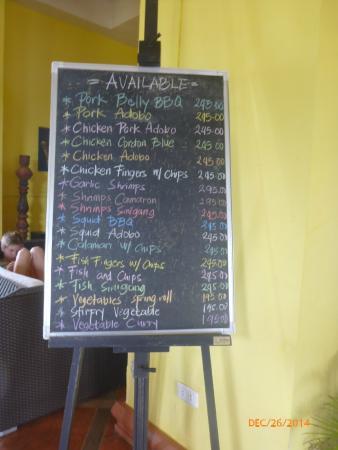 Mangrove Oriental Resort : Menu for the day.