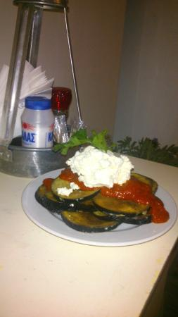 Piso Livadi, Grækenland: Fried aubergines with soft cheese!!