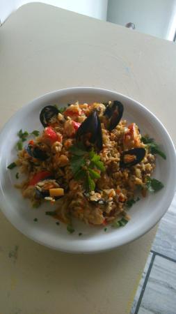 Piso Livadi, Grecia: Delicious seafood risotto!!