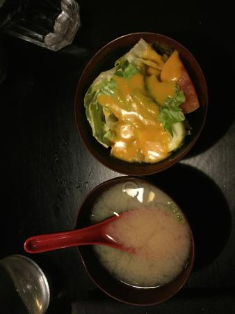 Nagoya Asian Bistro: The salad was decent, the soup was not