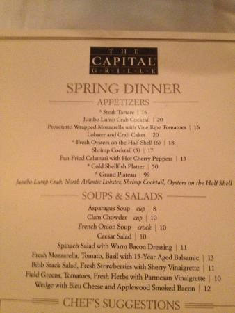 The Capital Grille : Dinner menu