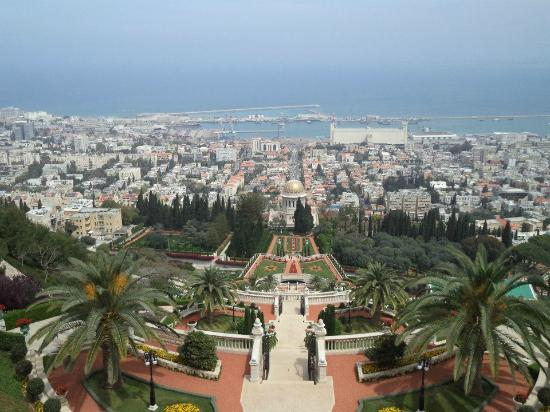 Bahai Gardens  and Shrine: View from the top of the Baha'i Gardens