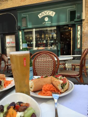 Mocca On Maiden Lane: Greek salad and chicken sandwich ! Good lunch