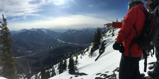 Fernie Wilderness Day Adventures : Looking down at the base lodge on 28 Feb 2015