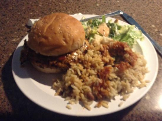 Just Grillin': Burger. rice and salad