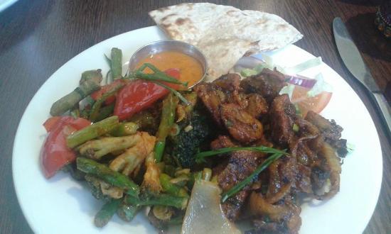 Gurkha 3 Nepalese & Indian Cuisine: Gurkha 3, Lamb Sekuwa and Broccoli and asparagus, roti