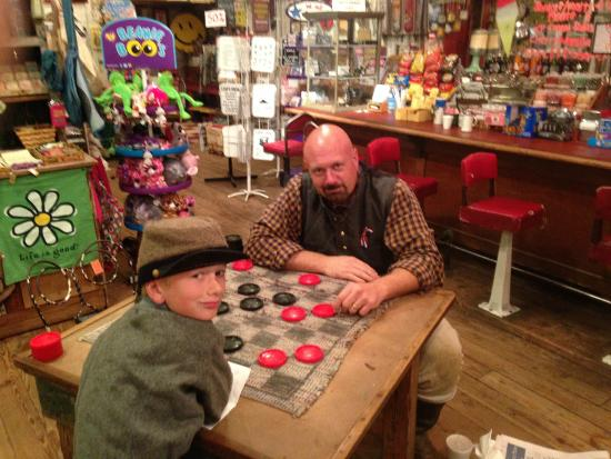 Jefferson General Store : Enjoying a game of checkers in the general store