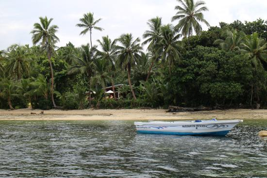 Matanivusi Surf Resort: view of the resort from the surfing boat