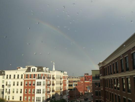 Residence Inn Portsmouth Downtown/Waterfront: Rainbow outside back of hotel.