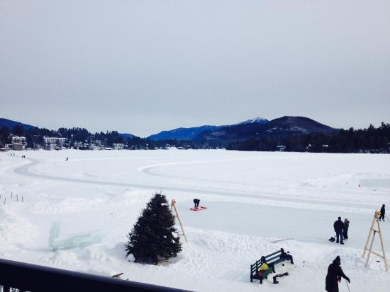 Lake Placid, NY: Mirror lake frozen (hockey)!