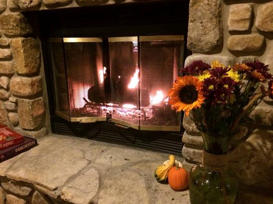 Somerset Inn & Suites: Fireplace W/ Sunflowers