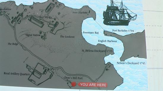 The area map at Dows Hill Fort Picture of Nelsons Dockyard
