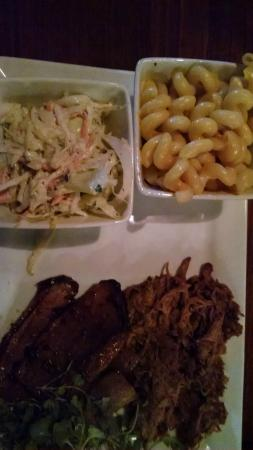 Smoked Bar & Grill: Pork and Brisket with sides of Macaroni and Cheese and Coleslaw