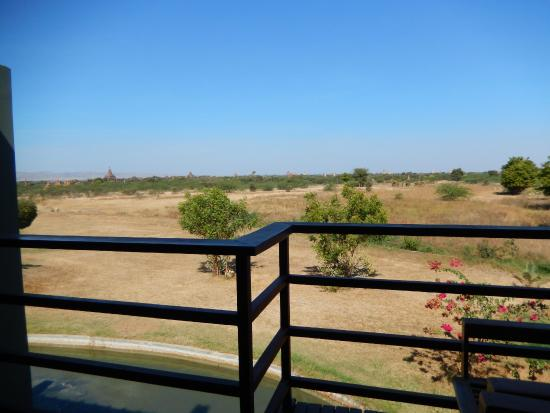 "Kumudara Hotel Bagan: View from balcony (hardly ""overlooking"" the temples)"