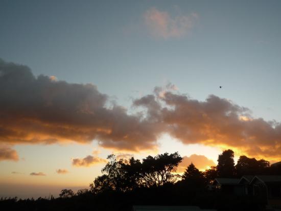 Hotel y Cabinas Don Taco : coucher du soleil depuis la terrasse