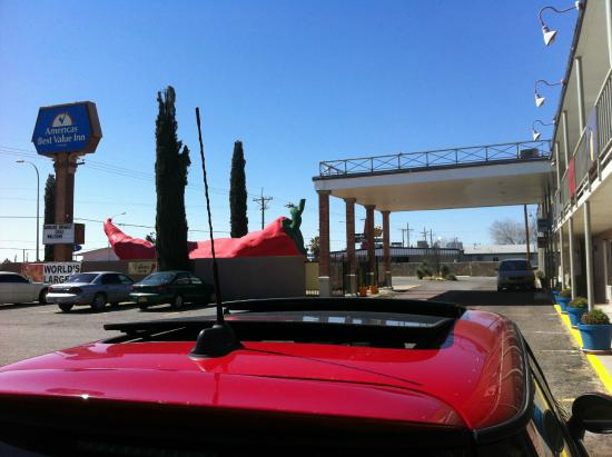 The Big Chile Inn: VIEW OF YOUR CAR & THAT OVER SIZE PHALLIC RED CHILI
