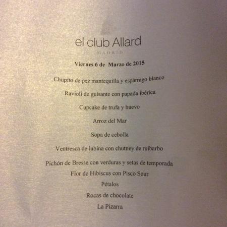 El Club Allard: Menu Encuentro