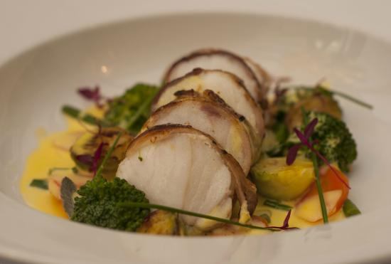 The Coach House Restaurant at Ravenstone Lodge: Monkfish wrapped in pancetta