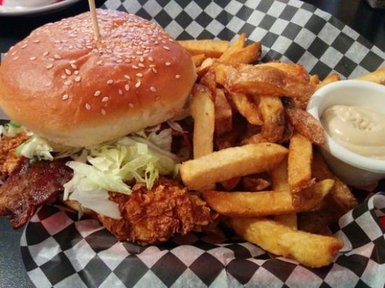 The Downtown Diner : Crispy Chicken Burger..rolled and deep fried in cornflakes. Brown sugar bacon..Spicy or regular.