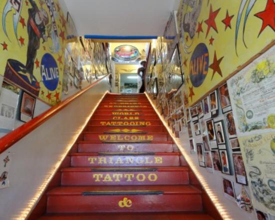 Triangle Tattoo and Museum : The stairs leading up to the museum