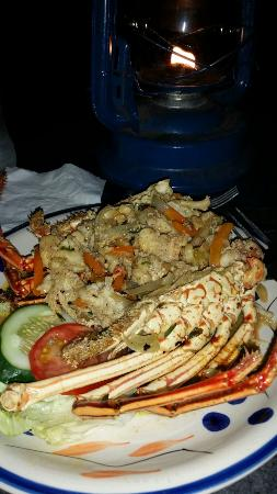 The Sky Beach Bar & Restaurant: Garlic Lobster. They pull it out of the shell chop ir up, then add all the herbs. Very good.