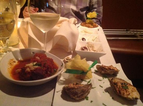 Kali's Court: bread with Trio,shark fritters, beef and lamb meatballs and baked oysters