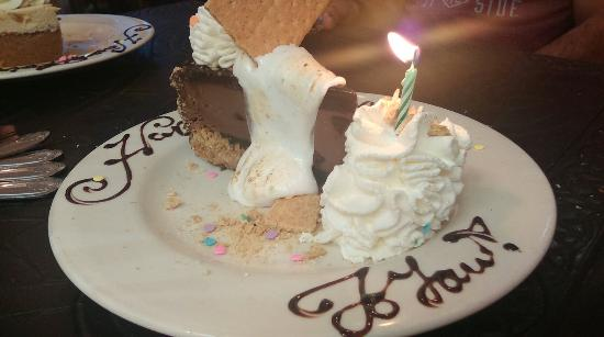 The Cheesecake Factory : Snores cheesecake with candle to recognize your bday.  You have to buy the dessert first and the