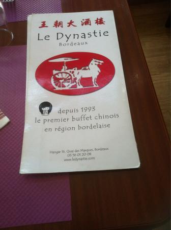 Carte La Chine Ath.La Carte Photo De Le Dynastie Bordeaux Tripadvisor