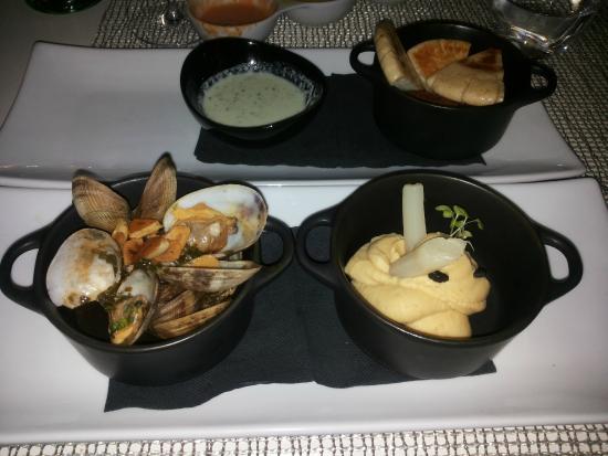 Nunu Restaurant: 3er-Kombi Tapas für 13€: Falafel mit Tzatziki, Hummus, Jakobsmuscheln in Knoblauch-Wein-Sud