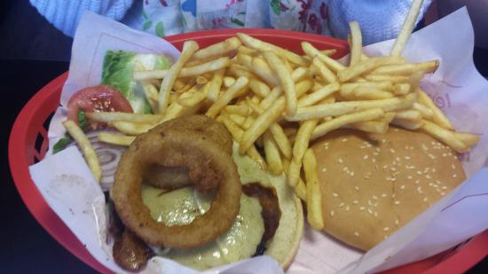 MJs American Diner : Cowboy Burger. Both burger and fries are delicious