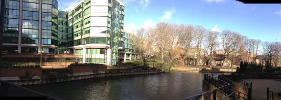 Reading Abbey Ruins: Abbey ruins and the Kennet River taken from Abbey Gate office complex