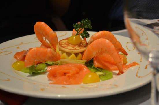 Le Billot: Duo de saumons et crevettes