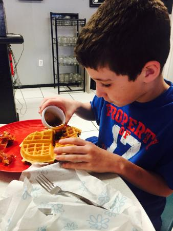 Oakwood, TX : JT loving the waffles!