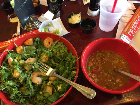 Newk's: Shrimp salad and gumbo